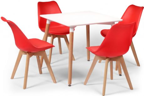 Toulouse Tulip Eiffel Designer Dining Set White Square Table & 4 Red Chairs Sale Now On Your Price Furniture